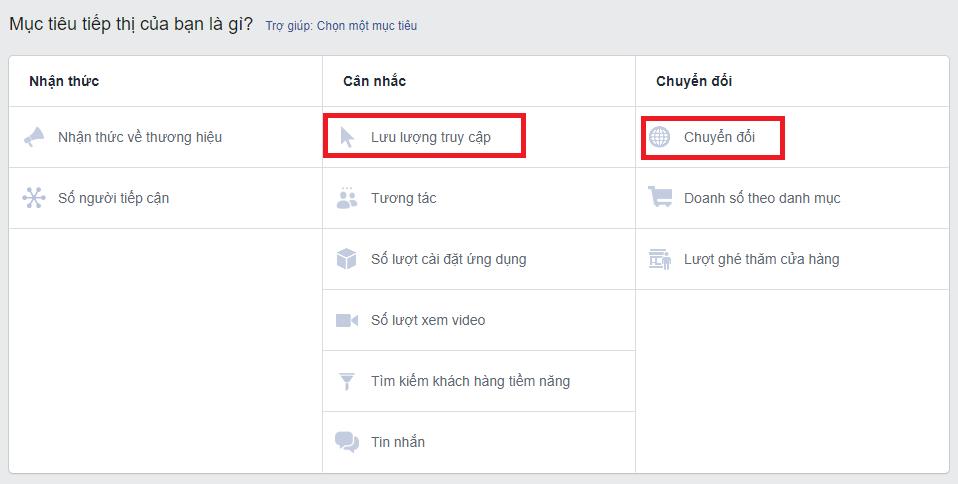 Cac Muc Tieu Chay Quang Cao Click To Web Tren Facebook
