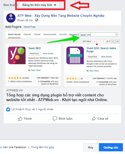 Tao Quang Cao Click To Web Tren Fanpage 6