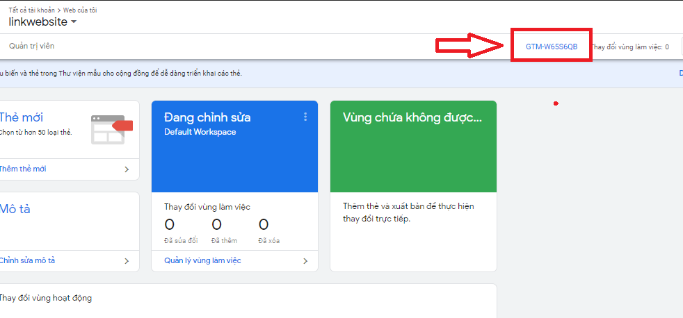 Lấy id google tag manager