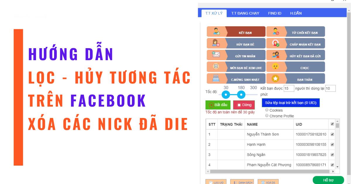 Cách hủy bạn bè không tương tác và xóa các nick không tồn tại trên Facebook miễn phí
